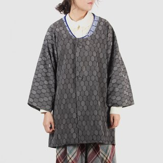[Egg plant ancient] gray pattern bubble wool vintage kimono feather weaving