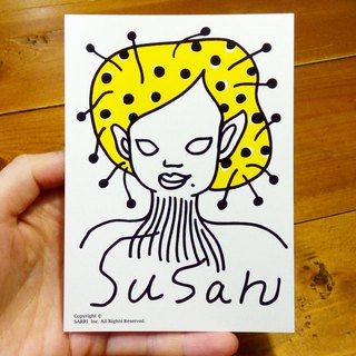 Alien Susan (can create A3 size posters) Birthday Card Design Coloring Illustrator Picture Card Universal Card Art Love Special Funny Strange Character Strange Lovely Taiwan Playable