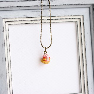 Miniature French classic dessert Saint-Honoré Necklace Short chain