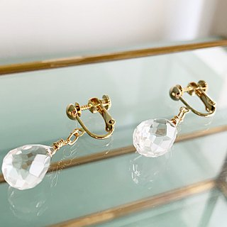 Large grain crystal quartz AAA briolette cut earrings