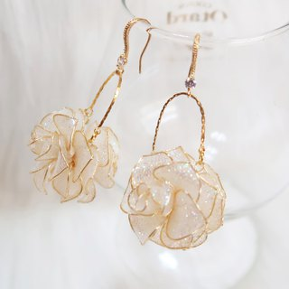 Miss Paranoid Paranoia Miss Double-sided Star Rose Ball Crystal Flower Resin Earrings
