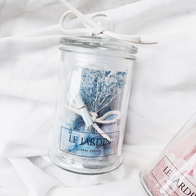 """Le Jardin"" blue hydrangea immortalized stars Wishing bottle / Valentine's Day birthday gift"
