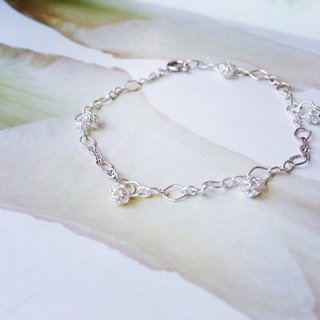 925 sterling silver cute and small [openwork ball bracelet]