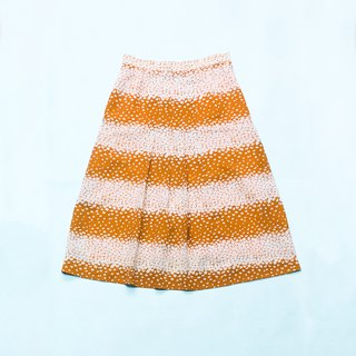 Skirt / Orange and White A-line Skirt