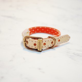 Dog Cat S collar (without tag) Red three-dimensional cotton planting leather