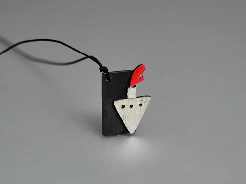 Silver oxide black red black and white neutral sailing cruise clavicle necklace happy birthday confession of love anniversary gift No. N9017 | Greek original handmade jewelry This and That