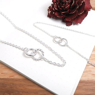 Roll twist twist couple necklace set - 925 sterling silver necklace Valentine's Day on the chain