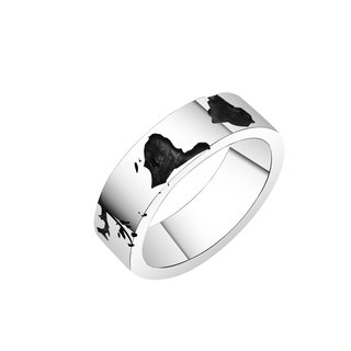 Order Silver World Map - Southern Hemisphere Silver Ring