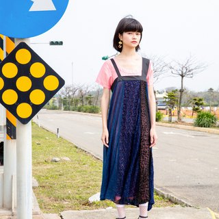 Moi non plus Blue Triangular Sling Dress - Japanese Fabric