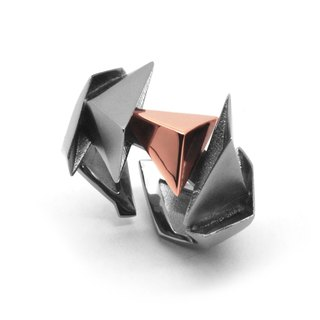 BERMUDEZ Ring / Gun Metal - 18K Rose Gold  (exclusive design jewelry)