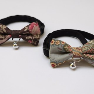 [Miya ko. Handmade cloth grocery] ((((I want to bring together two spot spot Yo)))) cats and dogs bow tie / tweeted / bow / vintage style / retro / pattern / pet collars