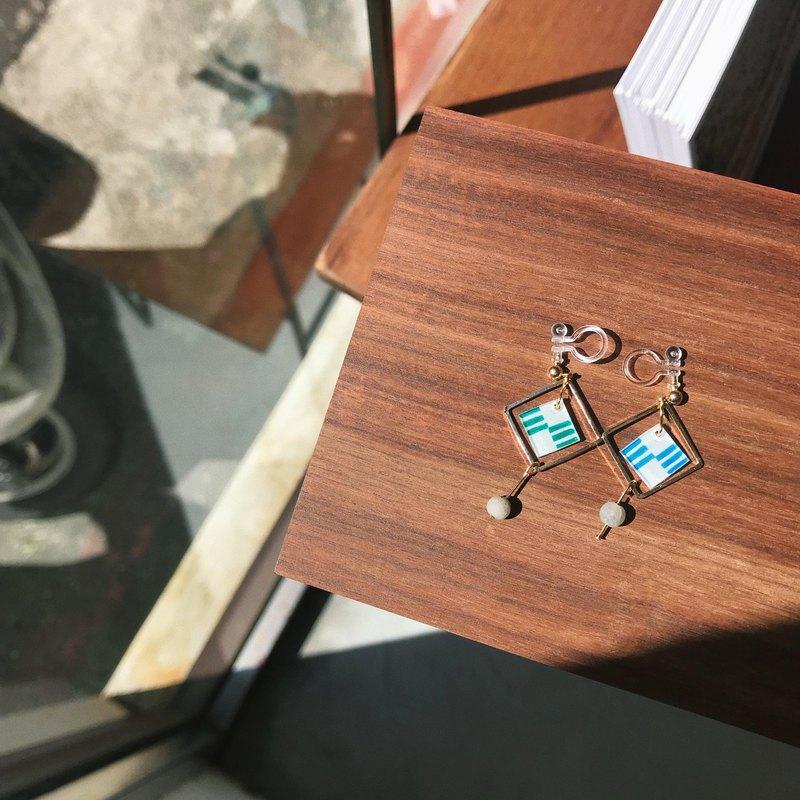 海藻 - 針夾式耳環