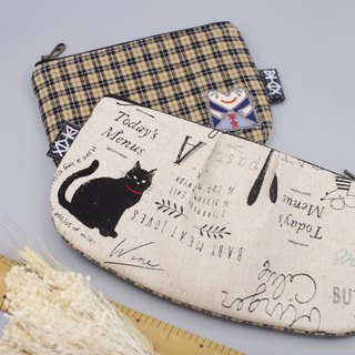 Peaceful bag - retro MiG and a black cat, double-sided color, pencil bag cosmetic bag glasses bag