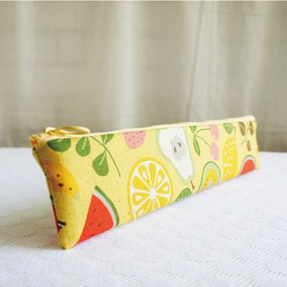 Lovely [Japanese cloth] comprehensive juice straw bag, cutlery bag, pencil case, yellow bottom, 29 cm