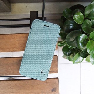 Optima iPhone 8/7 side squat standing protective shell knit lake green
