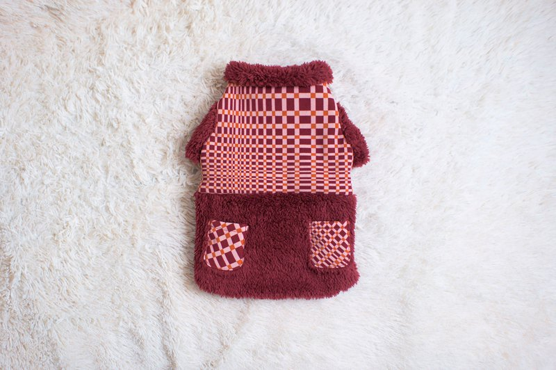 Can be customized. Red plaid warm brush pet clothing