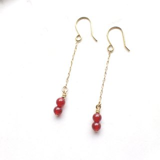 Charming red- red agate brass earrings