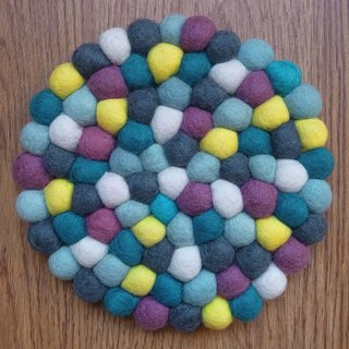 Potholder, Trivet, Pan Coaster, Pot holder, Felt ball Trivet Round 20cm Blue