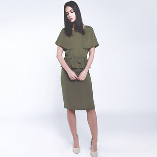Olive green round neck caped long dress soft texture draped fabric