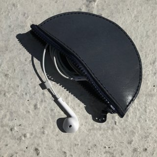 Leather purse - capable of accommodating change headset charging cable small matter / dark blue leather