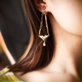 [Libra] zircon brass earrings ear clip
