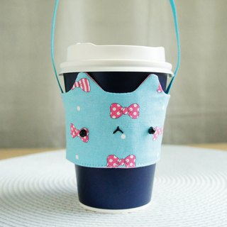 Lovely [Japanese cloth] pink bow 喵 star drink cup bag, cat drink cup set [sky blue]