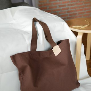Oversized tag tote bag Brown (waterproof)