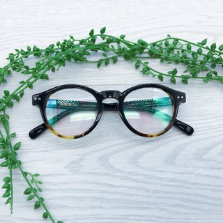 Yellow Tortoise Black Boston Shape eyeglasses frame eyewear Handmade in Japan