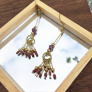 Laolin groceries l hand made brass earrings glass tassel ear hook l ear pin l ear clip