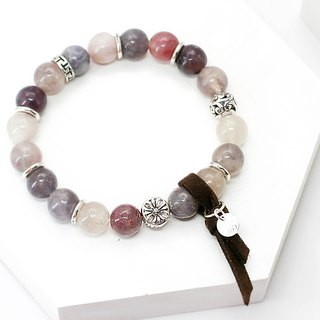 Symphony Lake Sea Natural Stone Silver Bracelet │ Pink Purple 玥 unicorn Watermelon Tourmaline Ball