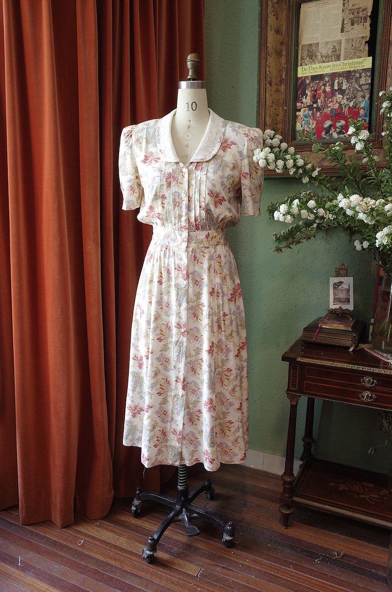 vintage dress加拿大制蕾絲翻領連衣裙古著洋裝