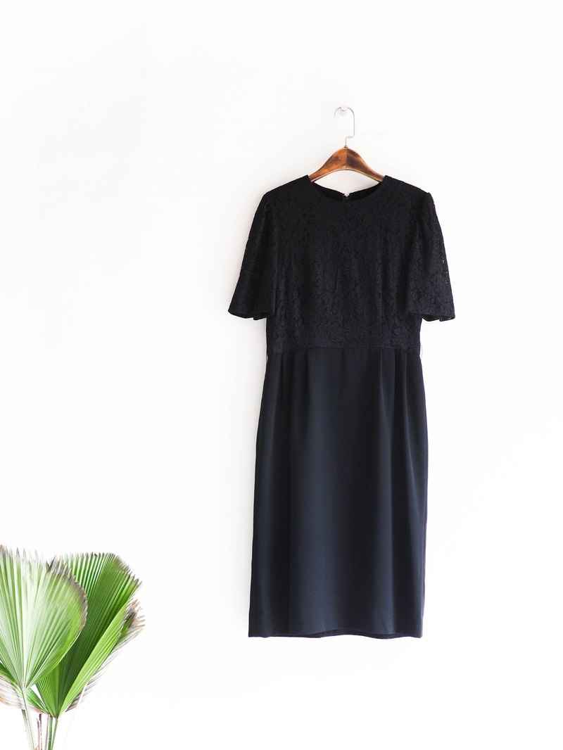 River Water Mountain - Toyama Pure Black Half Lace Silent Girl Antique Silk Skirt Dress overalls oversize vintage dress
