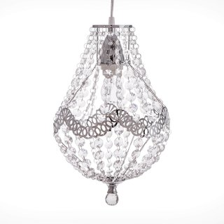 BNL00023- silver chrome iron lace transparent acrylic bead chandelier