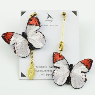 humming-Embroidery earrings / Ascia buneae sublineata