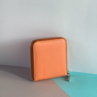 'MONDAY' ITALY LEATHER SHORT WALLET-PINK/ORANGE