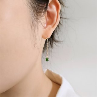 Diopside Faceted Rondelles 14K GF Thin Chain Dangle Earrings | Emerald Green