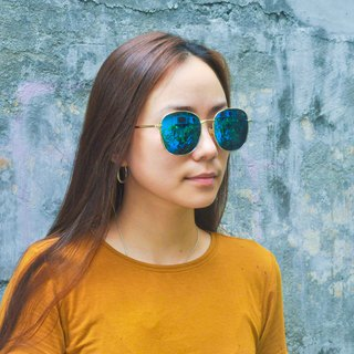 Sunglasses Polarized│Rectangular Round Frame│Blue Lens│UV400 Protection│2is RenB