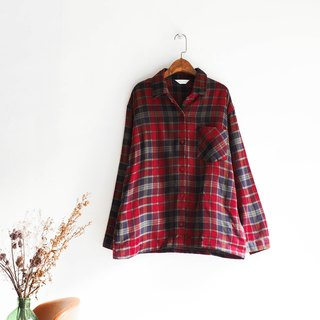 River Water - Aichi dark red plaid Christmas winter celebration antique wool shirt shirt shirt oversize vintage