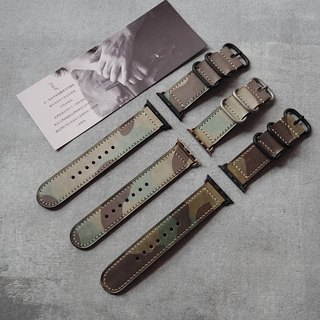 Apple Applewatch manual strap Italy imported wax army green camouflage leather handmade design