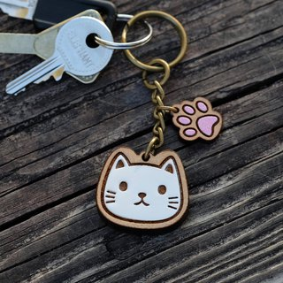 Painted Wooden key ring - Cat