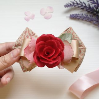 Classic Stunning Red Rose, Ribbon Bow, Barrette Hair Clip HA0207
