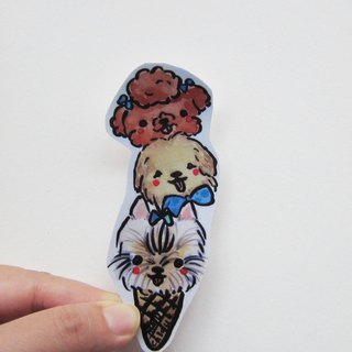 Hand drawn illustration style fully waterproof sticker dog ice cream VIP golden retriever yorkshire
