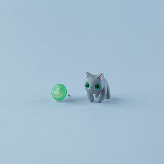 Russian Blue Cat - Polymer Clay Earrings, Handmade&Handpaited Catlover Gift