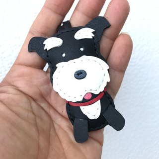 Handmade leather black cute schnauzer handmade sewn leather charm