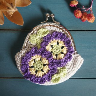 Hand-woven flowers series - purple pink butterfly flower mouth package / coin purse / small bag / cosmetic bag ~