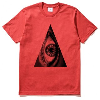 Triangle Eye Men's Unisex Short Sleeve T-Shirt Red Triangle Eyelet Geometric Design Own Brand Trendy Circle Bright Justice
