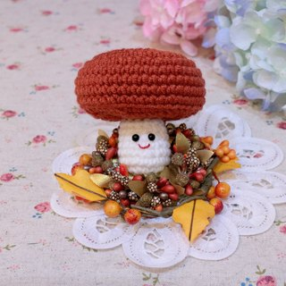 Smile mushroom - red brown. key ring