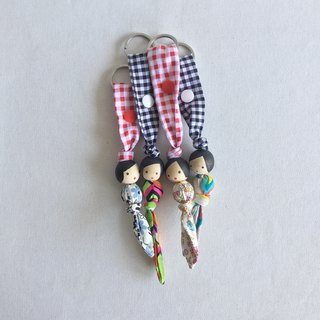 Homycat fabric keychain with wooden beads doll (design 1)