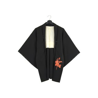Back to Green :: Japan back kimono feather brick color twilight leaves // unisex wear / vintage kimono (KI-139)