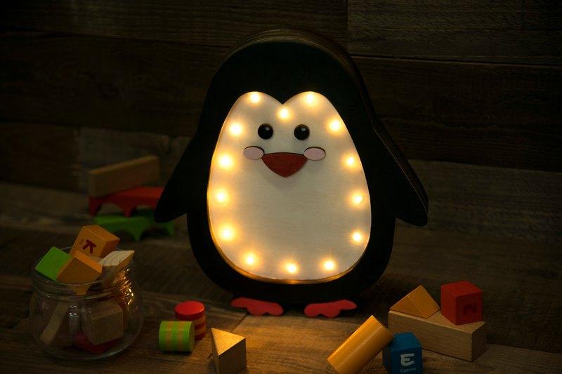 手工製造 企鵝立體木燈 座枱燈 小夜燈 聖誕禮物 生日禮物 兒童燈